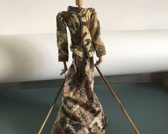 Vintage Thai Shadow Stick Puppet Thai Nang Yai Woman
