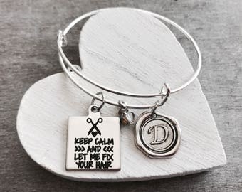 Keep calm, and let me, fix your hair, Hairstylist, Hairdresser, beauty school, Hair stylist Silver Bracelet, Charm Bracelet, Silver Jewelry