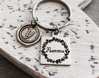Mamma, Mamma Jewelry, Mamma Keychain, New Mamma, First time Mamma, Mamma Gifts, Silver Keychain, Silver Keyring, Silver Jewelry, Gifts for