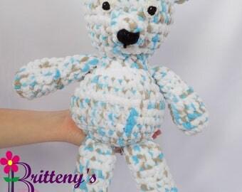 Teddy Bear / Baby Blue, White, and Taupe Teddy Bear / Baby Soft Teddy Bear / Plush Baby Teddy Bear / Baby Teddy Bear Stuffed Animal