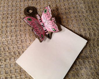 Vintage Pink & Brass Butterfly Clip - Allied Brass Co. - Rustic Office, Desk Organization - Clipboard, Wall Hanging - Receipt, Note Holder
