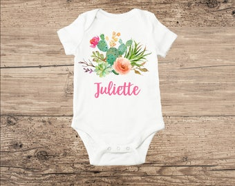 Personalized Baby Clothes, Cactus with Flowers