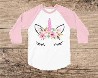 Unicorn Shirt with Flower Crown, Toddler Clothes