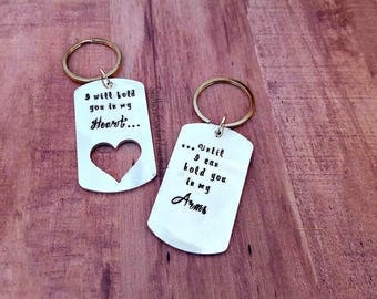 Long Distance Relationship Key Chains - Military Deployement - Army Navy Air Force Marines - I will hold you in my heart - Hand Stamped Gift