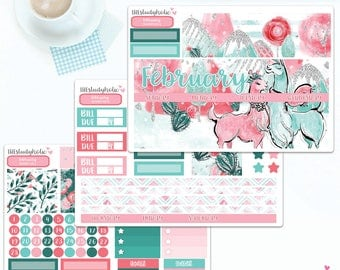 February Monthly Kit Stickers | Erin Condren 2018 | Erin Condren Vertical | Planner Stickers | Monthly Stickers