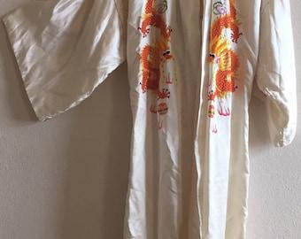 vintage 60's CREAM DRAGON ROBE - embroidered, small, medium, kimono