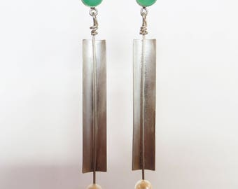 Chrysoprase and Pearl Dangle Earrings in Silver