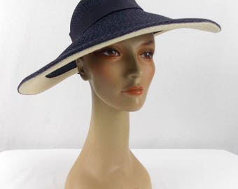 Dolly Madison Original Woven Straw Picture Hat Navy Blue