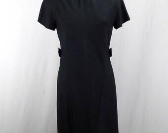 1950's Vogue Couturier Black Linen Dress