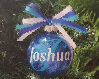 Initial Ornament, Name Ornament, Glitter Ornament, Christmas Ornaments For Kids, Custom Name Ornament, Boy Ornament, Customized Ornaments