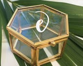Hexagon Ring Box Personalized Glass Box Customized Jewelry Box / Bridesmaid Gift / Personalized Gift / Engagement Gift / Ring Bearer