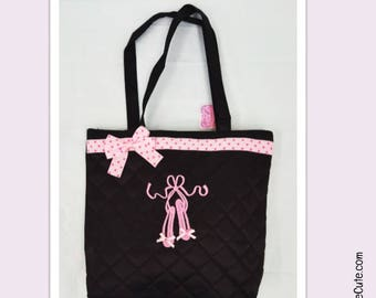 Ballet Bag Personalized with Dancer Name.  Black Dance Bag with Embroidered Ballet Slippers & Pink Dotted Ribbon on Quilted Lined Dance Bag