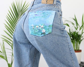 Hand painted jeans- Monet Water Lilies