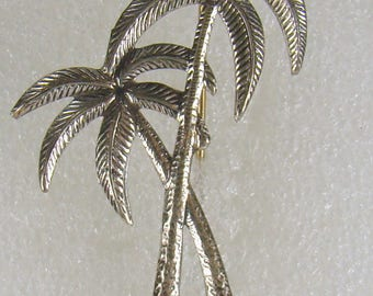 Beau Signed Sterling Two Tropical Palm Tree Brooch