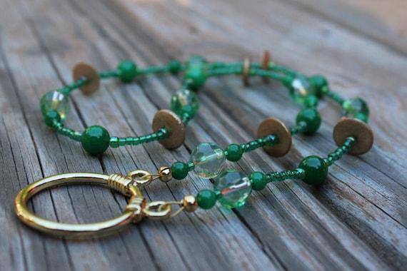 Eyeglass Necklace, Short Length Green Holder for Glasses, Reading Glasses Necklace, Lanyard