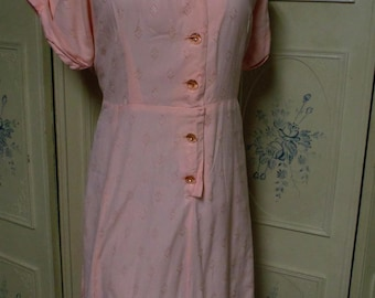 "1950 Pink Day Dress, Bust 49"", Size 22"