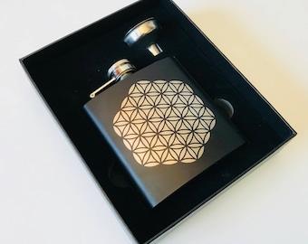 Flower of Life - Black Stainless Steel Flask
