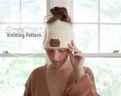 Knitting Pattern // Messy Bun Hat // Ponytail Hat // Messy Bun Beanie // Double Knit Brim Hat // Beginner's Pattern // Simply Maggie