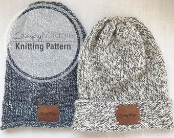 Knitting Pattern // The Long Wool Beanie // Beginner's Pattern // Slouchy Hat // Slouchy Beanie // Simply Maggie // Unisex Hat