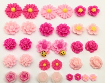 32 pcs resin cabochon flowers ,assorted sizes,11mm to 25mm#FL008