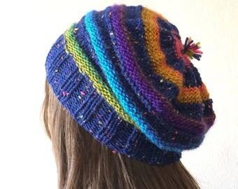 Slouchy Beanie Women, Boho Hat, Multicolor Knit Hat, Slouchy Knit Hat, Beanie Hat, Winter Hat