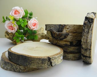 """4""""-5"""" Rustic Wood Slabs, Birch Wood Slabs, Tree Rounds, Tree Trunk Slices, Natural Wood Slices, Rustic Wood Rounds, Woodworking, (A1), 5pcs"""