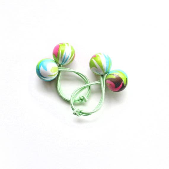 SPRING bobbles. Light green hair bobbles. Funky hair bobbles. Retro style hair bobbles. Retro Hair Accessories