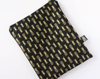 Gold Pineapples Natural Screen Printed Cotton Fold Over Clutch