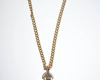 Purple Crystal Gold Plated Necklace, Jewelry, Custom Jewelry, Handmade Necklace, Gold Chain Necklace
