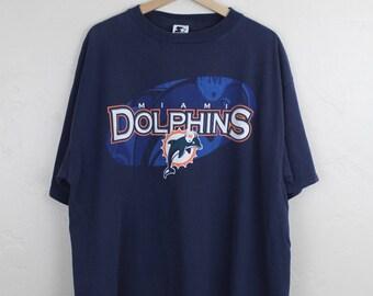 90s Vintage Miami Dolphins STARTER T-Shirt Vintage NFL Football Navy Blue T-Shirt Size XL