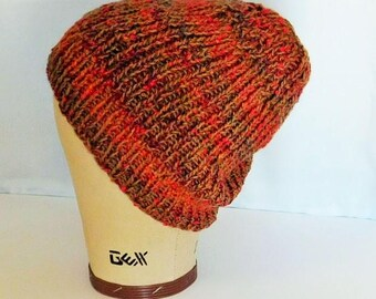 "Hat is Hand Knit - GRAFFITI Hat - Stretchy Ribs in Camel Tan Red Green Blue Aqua Yellow Pima Cotton Alpaca Acrylic Hand Wash, 15"" x 8 1/2"""