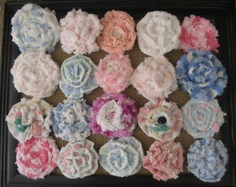 """20 Vintage Chenille Bedspread Fabric Flowers 2.5"""" to 3.5"""" Beautiful Colors & Textures Twist and Rose Style"""