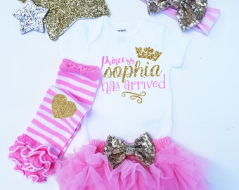 The Princess has Arrived Personalized Monogrammed Coming home Set Gold Glitter  headband and  Legwarmer Set Bloomers and Bodysuit