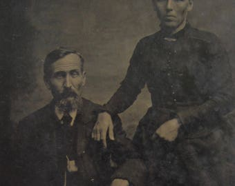 Life Took Its Toll - Original 1880's Worn Out Couple Tintype Photograph - Free Shipping