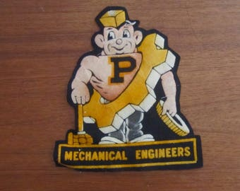 Rare 1940's Purdue University Mechanical Engineers Purdue Pete Patch - Boilermakers - Free Shipping