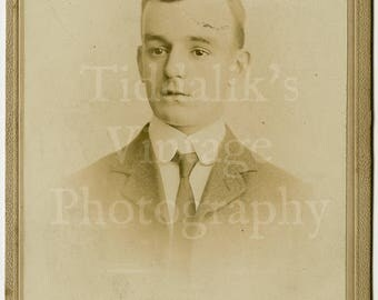 Cabinet Card Photo Young Handsome Victorian Man Portrait by Fred Avery of London England