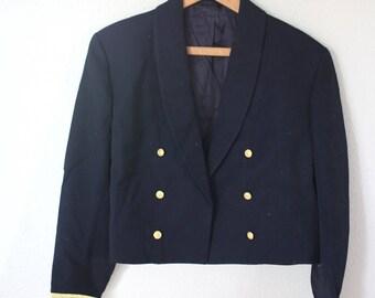 vintage navy blue gold military blazer jacket