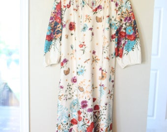 vintage cream butterfly poppy bohemian maxi caftan dress *
