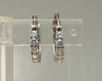 Vintage pretty retro traditional sterling silver open detail sparkly cz crystal hoop earrings