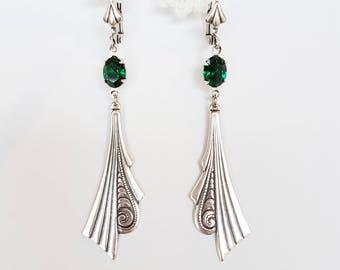 Art Deco Swarovski Emerald Drop Earrings - vintage style silver wedding bridal long dangle drop earrings