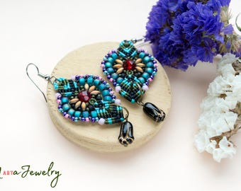Colorful macrame earrings, beaded, bohemian, long, micro-macrame jewelry, beadwork, beadwoven, black tulip flower, blue red pink, gift idea