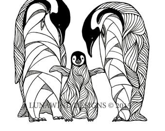 Penguin artwork etsy for Penguin adult coloring pages