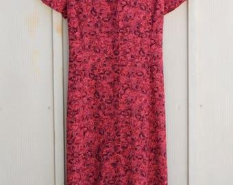 Red Floral Dress - Button Down Dress - Red Maxi Dress - 90s Grunge Dress - Short Sleeve Sundress - Long Calico Dress - Indie Dress - 1990s