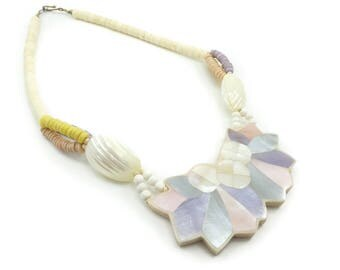 Vintage Mother of Pearl Necklace, Dyed, Pastels, Lucite, Circa 1980