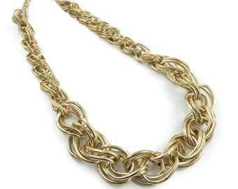 Vintage Chain Link Necklace, Gold Tone, W29