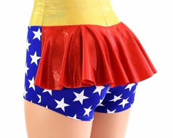 Wonder Woman Inspired Super Hero High Waist Ruffle Rump Metallic Holographic Spandex Booty Shorts - 154541
