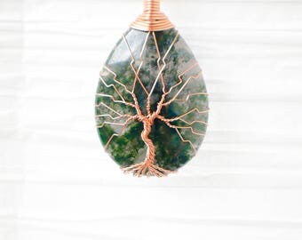Tree of Life wire wrapped Green Moss Agate stone pendant