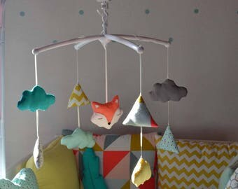 Mobile musical baby 'Teepee of foxes' - Fox, clouds and tipi graphic grey yellow coral
