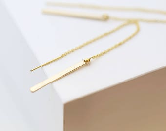 Gold bar Ear Thread Earrings // Dangling Bar Hoop Ear Thread // Threader earrings, Large gold statement hoops // Perfect Gift for Her