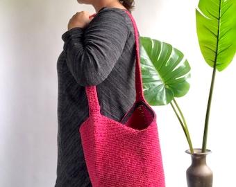 Vintage 90's Pink Crochet Bucket Bag / Bucket Purse